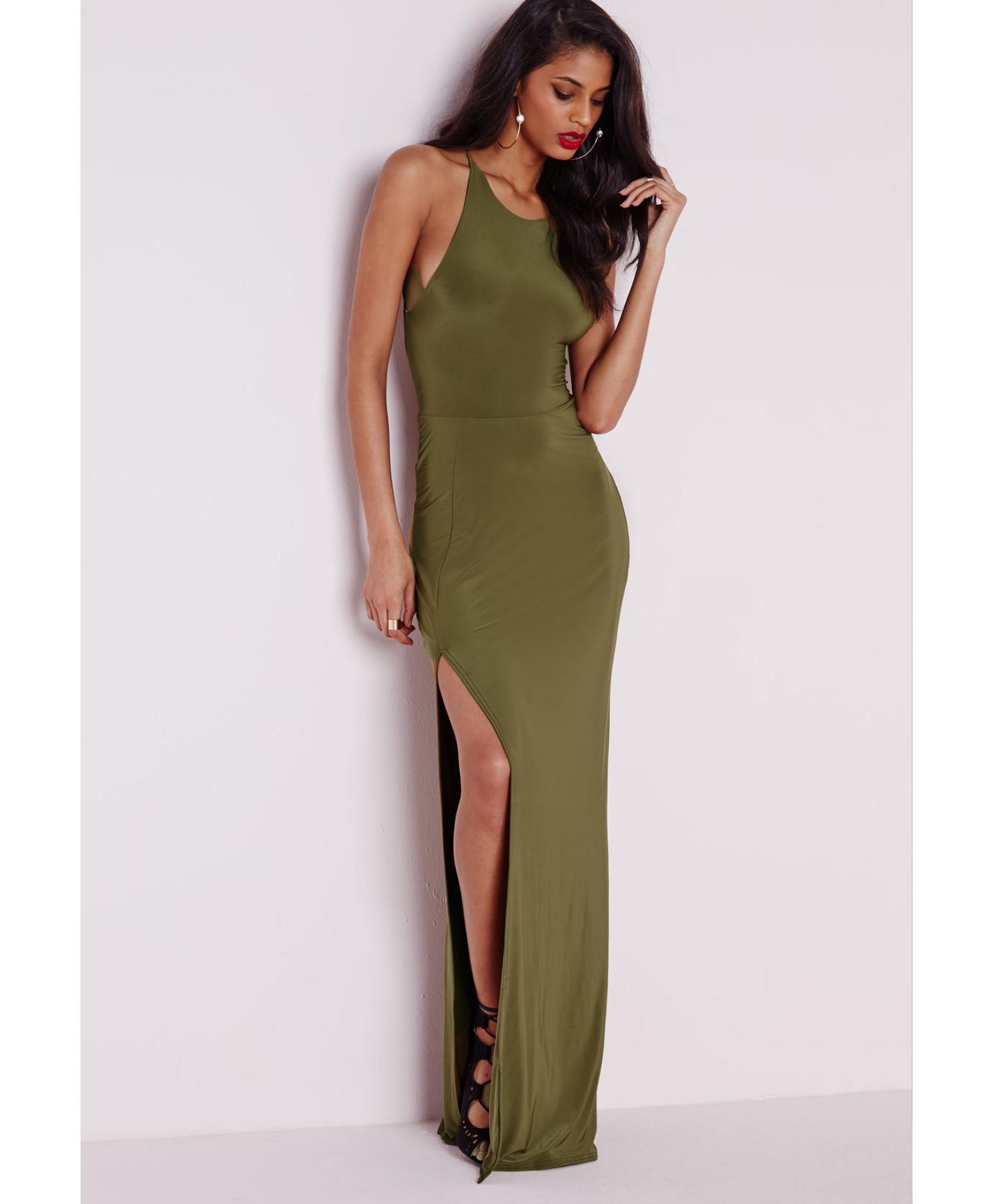 5242d16bf347 Lyst - Missguided Slinky Side Split Maxi Dress Khaki in Natural