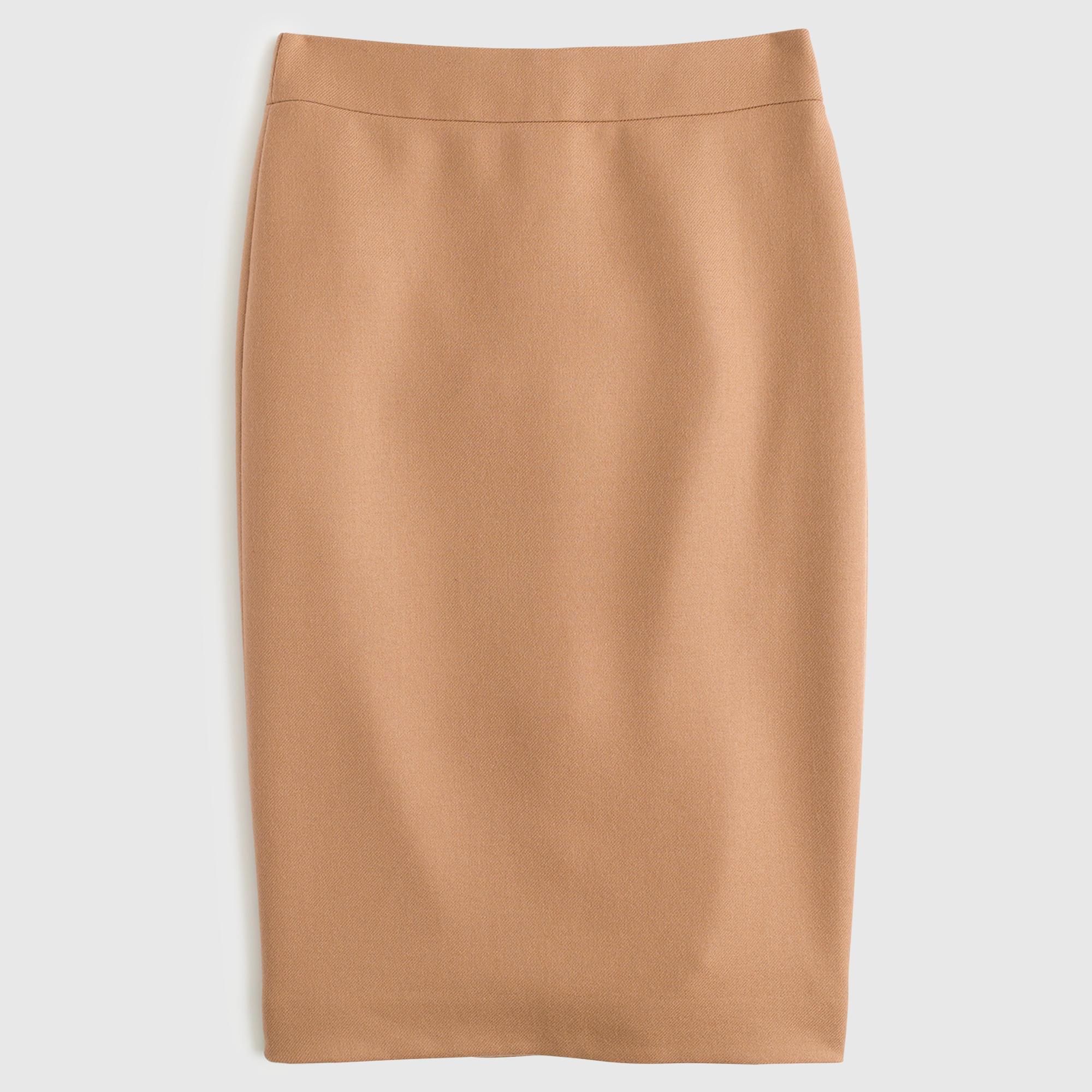 j crew no 2 pencil skirt in serge wool in beige