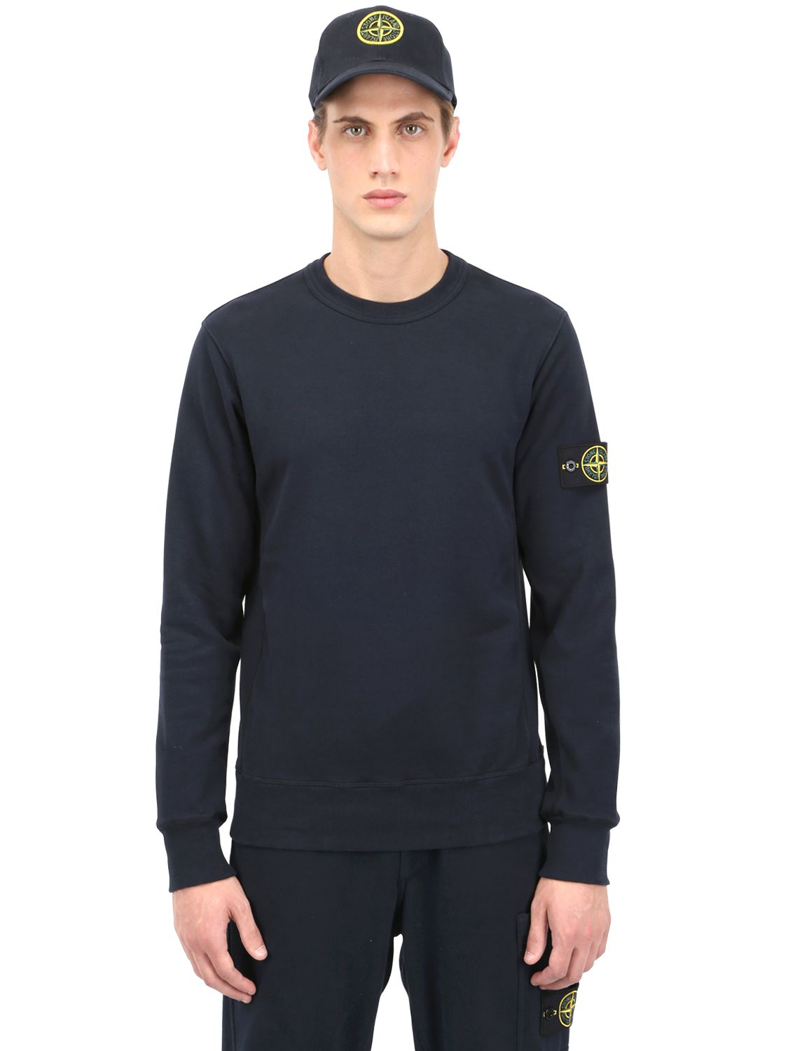stone island cotton sweatshirt in blue for men navy lyst. Black Bedroom Furniture Sets. Home Design Ideas