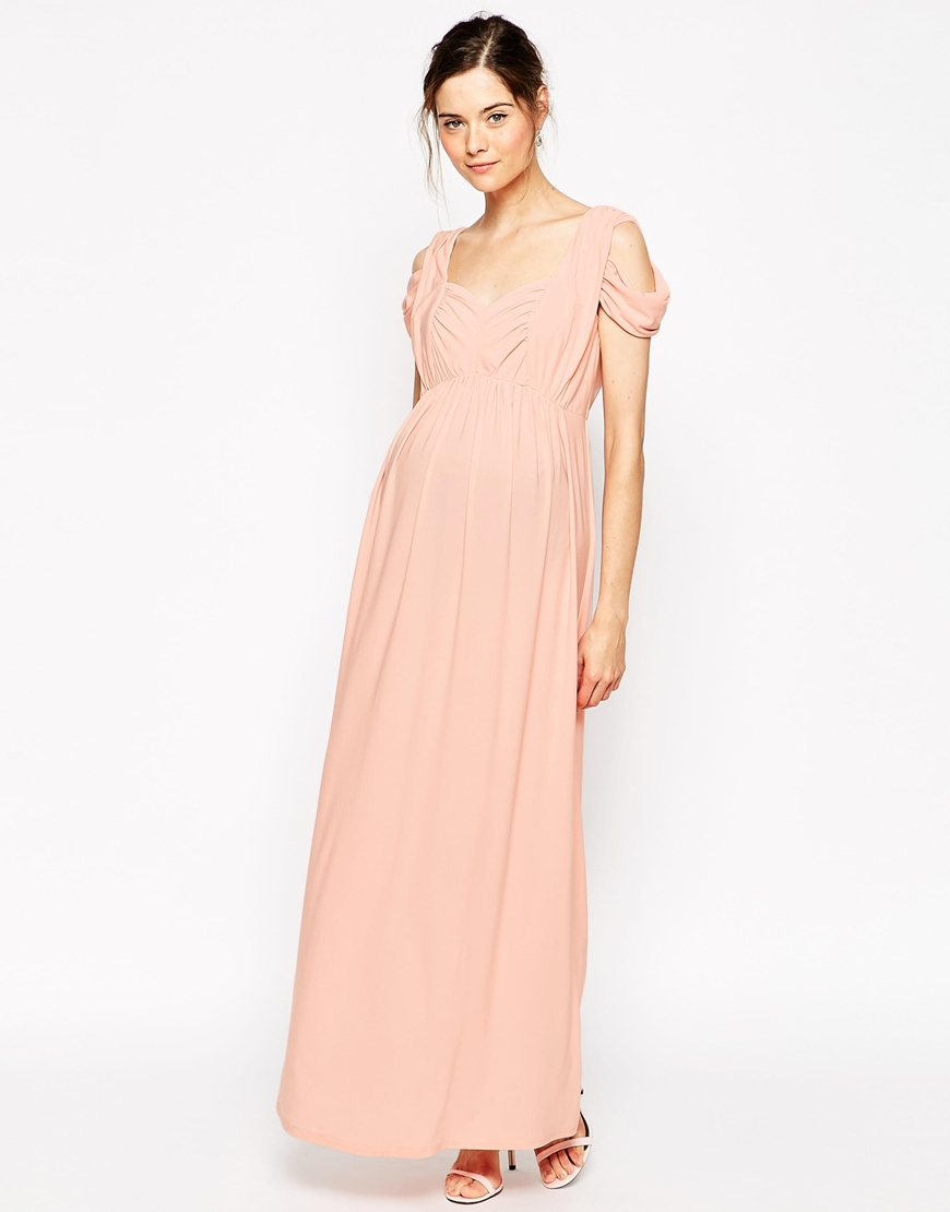196d9687a7 Lyst - ASOS Maternity Wedding Maxi Dress With Cold Shoulder in Natural
