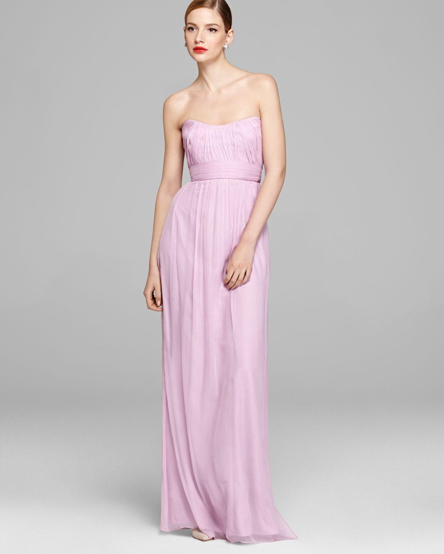 Lyst - Amsale Gown Strapless Chiffon in Pink