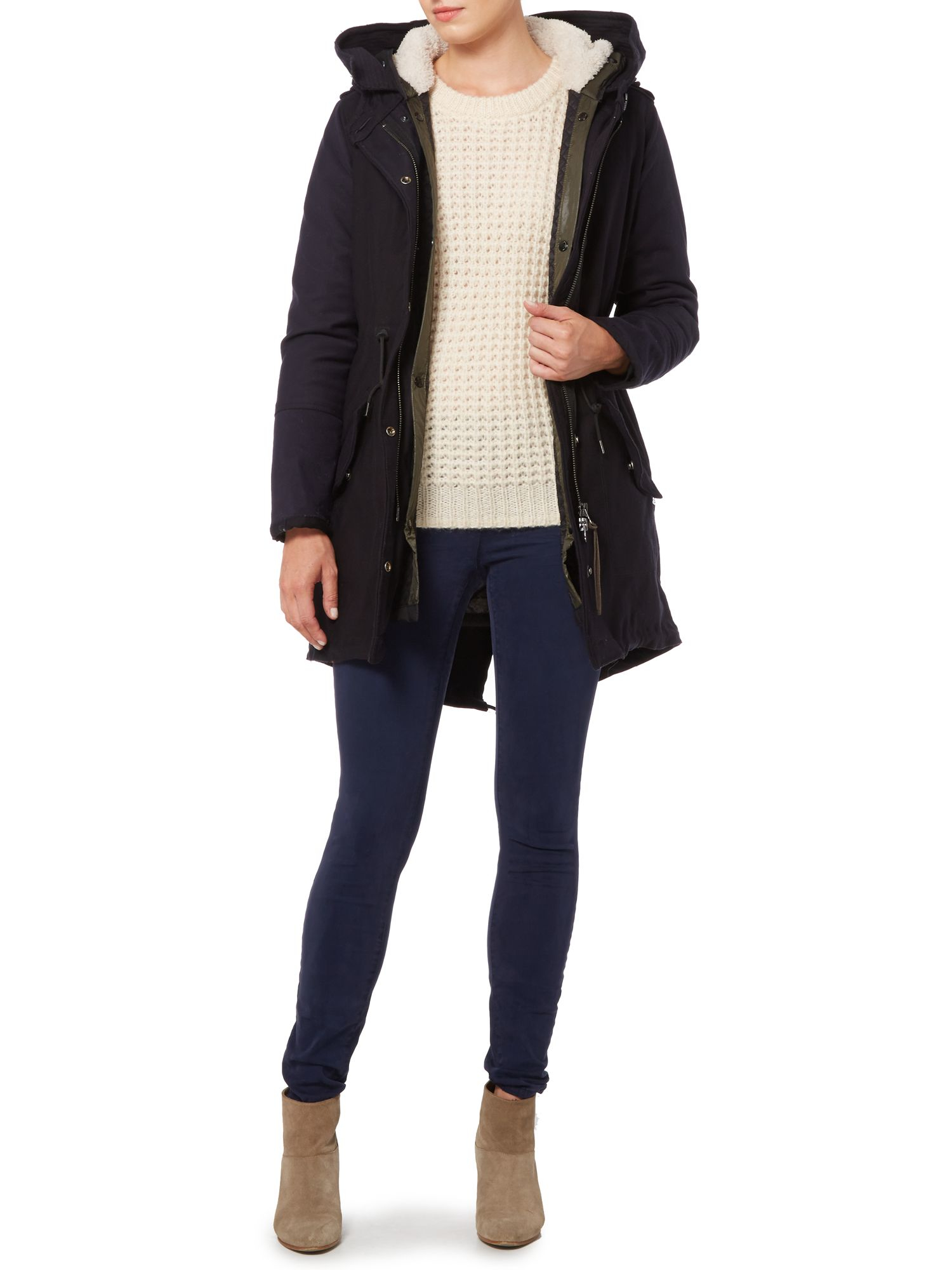 maison scotch parka jacket with removable lining in blue. Black Bedroom Furniture Sets. Home Design Ideas