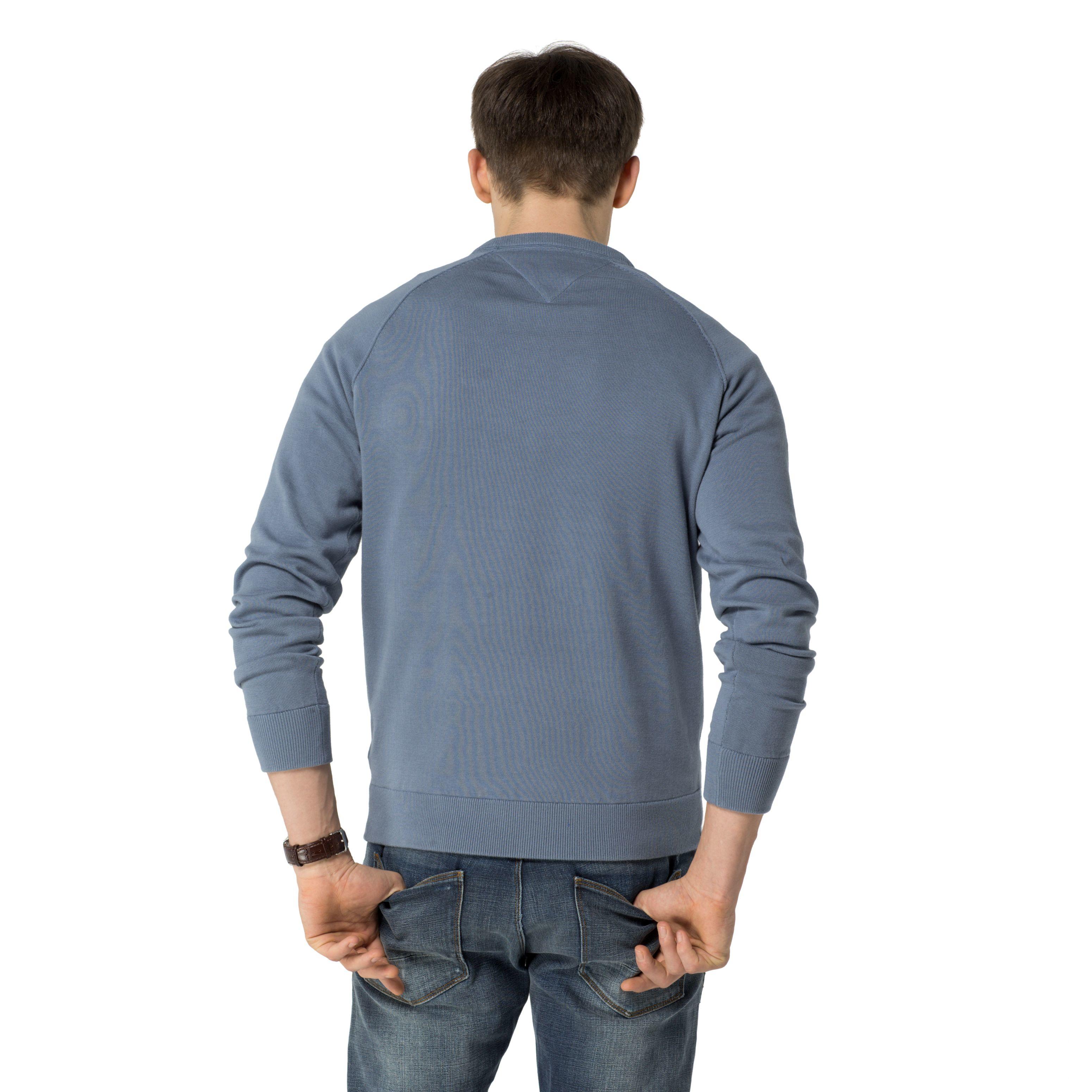 tommy hilfiger addison plain crew neck pull over jumper in gray for men lyst. Black Bedroom Furniture Sets. Home Design Ideas