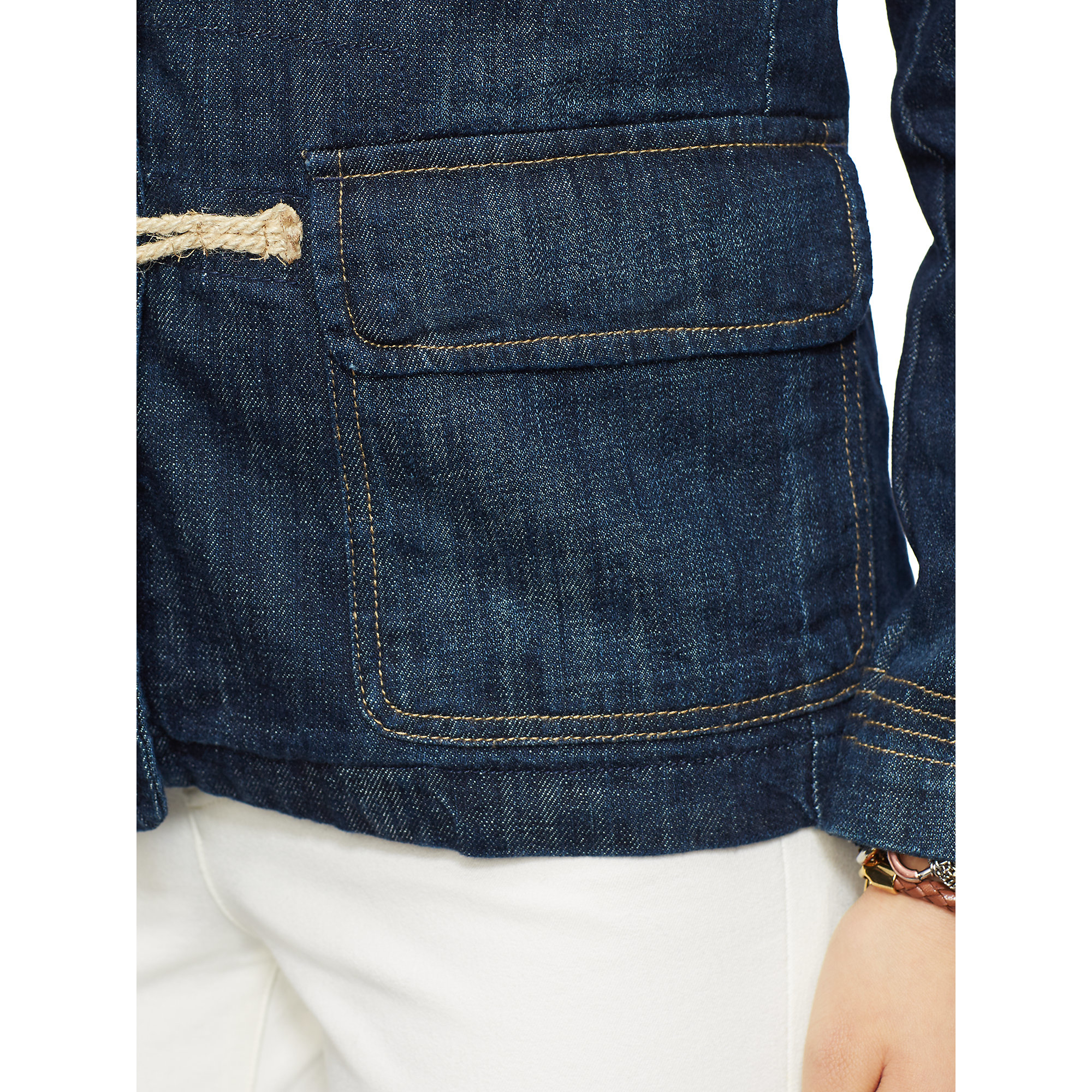 Pink Pony Toggle And Loop Denim Jacket In Blue Lyst