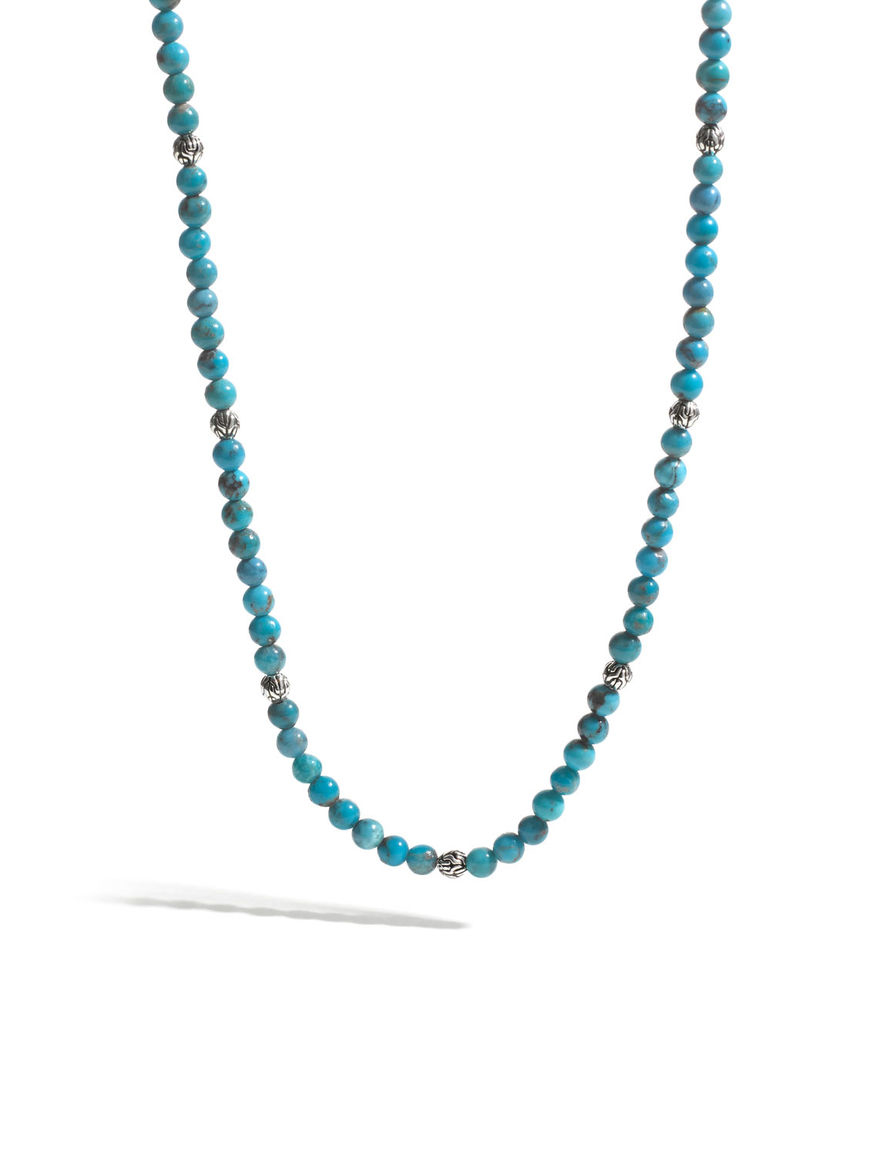John Hardy Mens Classic Chain Silver & Turquoise Bead Necklace, Blue/Black