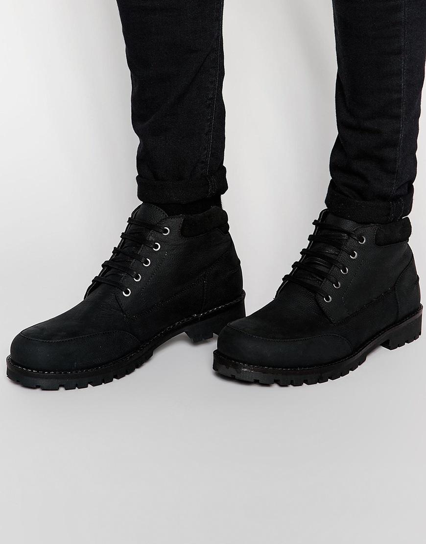 Asos Bottes À Lacets En Daim Noir - Noir rUl5stJ