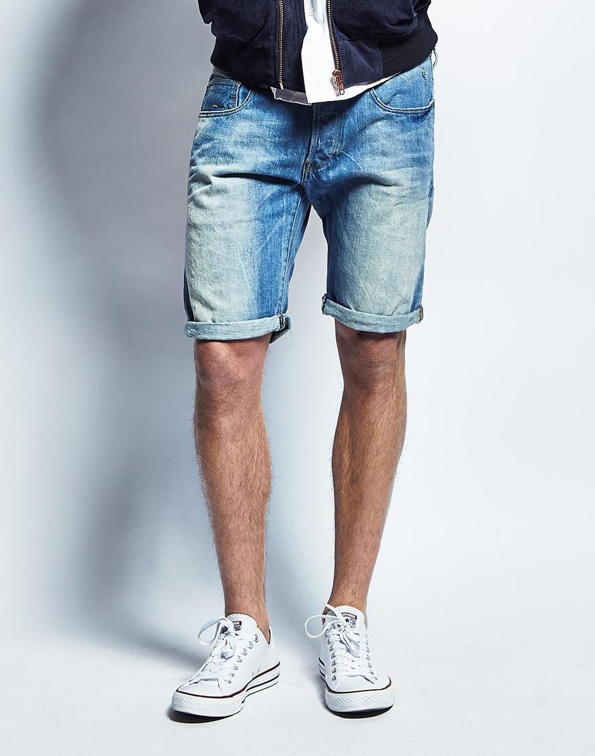 g star raw g star 3301 denim shorts in blue for men lyst. Black Bedroom Furniture Sets. Home Design Ideas
