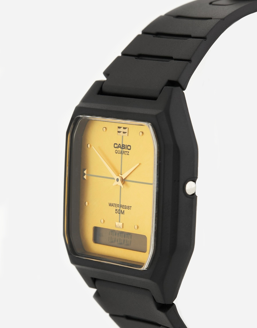 G Shock Gold Face Black Resin Strap Watch Aw48he 9a In