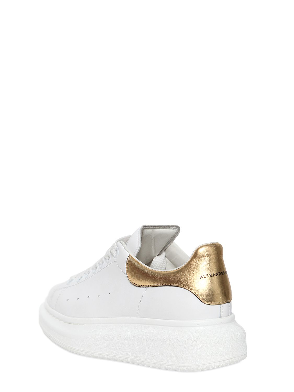 dbae6b301e22 Lyst - Alexander McQueen 40mm Metallic Heel Leather Sneakers in White