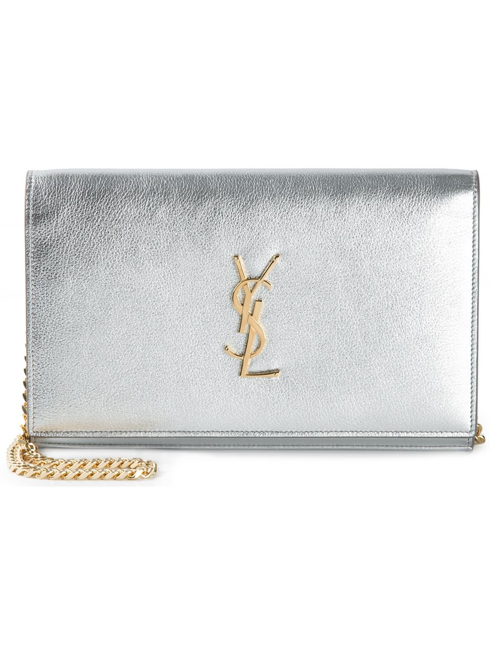 yves saint lauren clutch - monogram metallic leather crossbody bag, silver