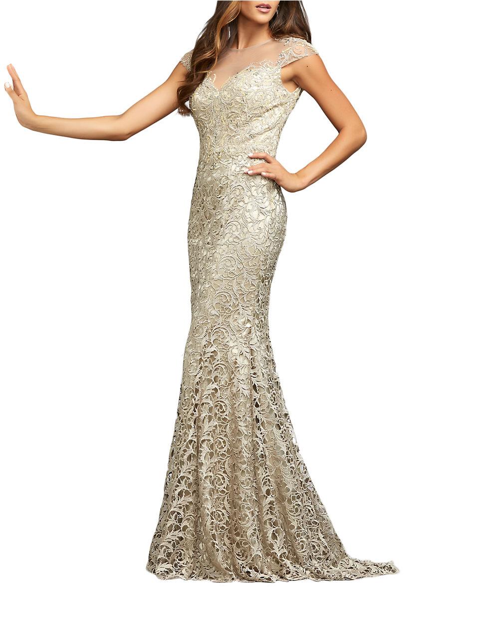 53b1bce10b9c Lyst - Mac Duggal Metallic Lace Illusion-yoke Gown in Metallic