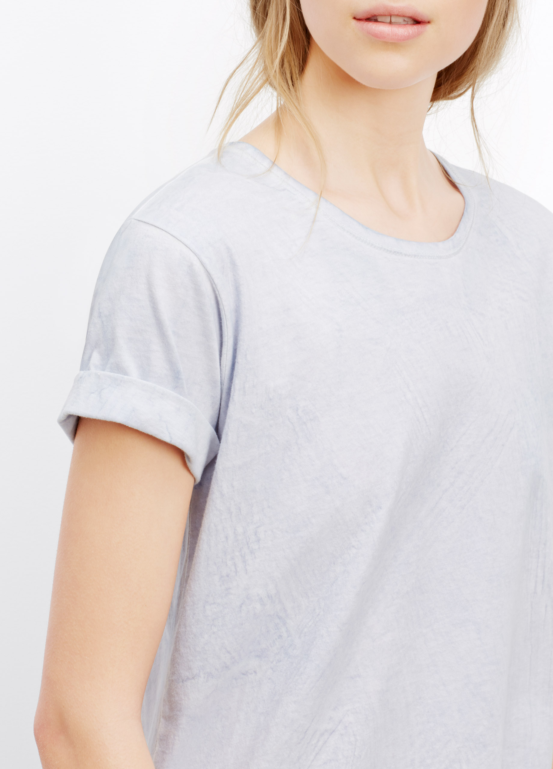 Lyst Vince Marble Wash Rolled Sleeve Crew Neck Tee In Blue