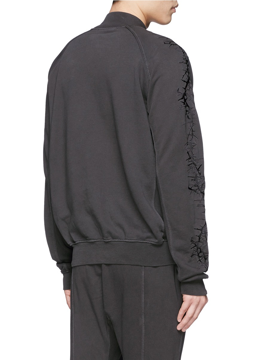 Haider Ackermann Thorn Embroidery Sleeve Sweatshirt In Gray For Men Lyst