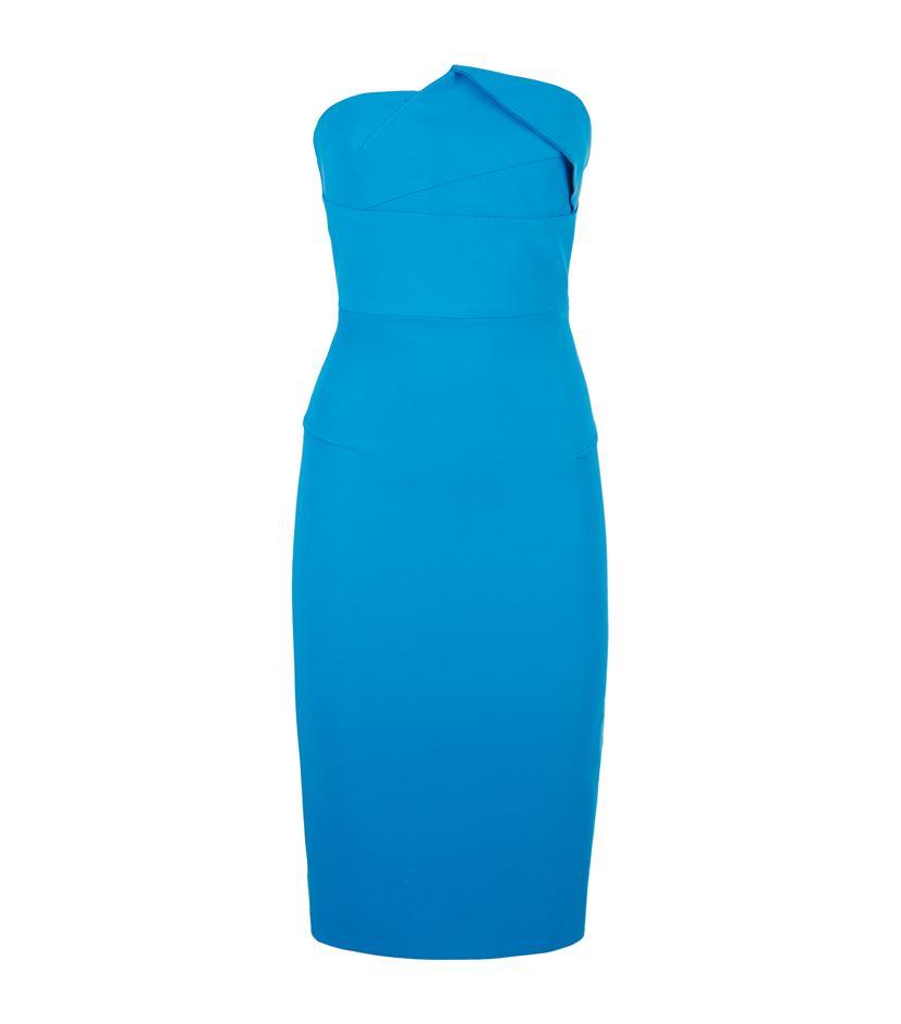 Roland mouret Esther Strapless Pencil Dress in Blue  Lyst