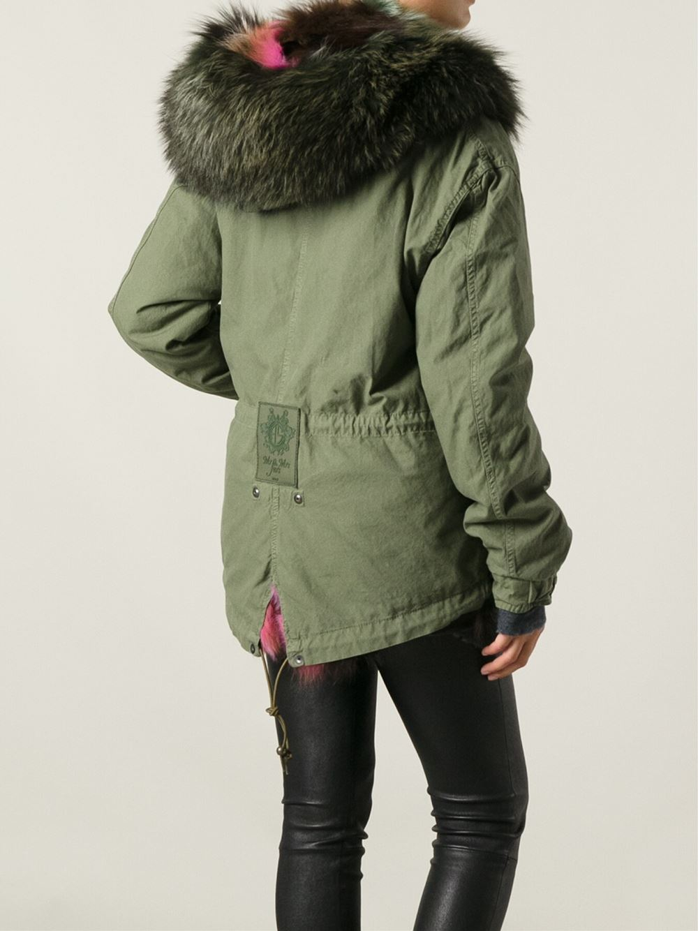 Mr & mrs italy Fur Trim Parka Coat in Green   Lyst
