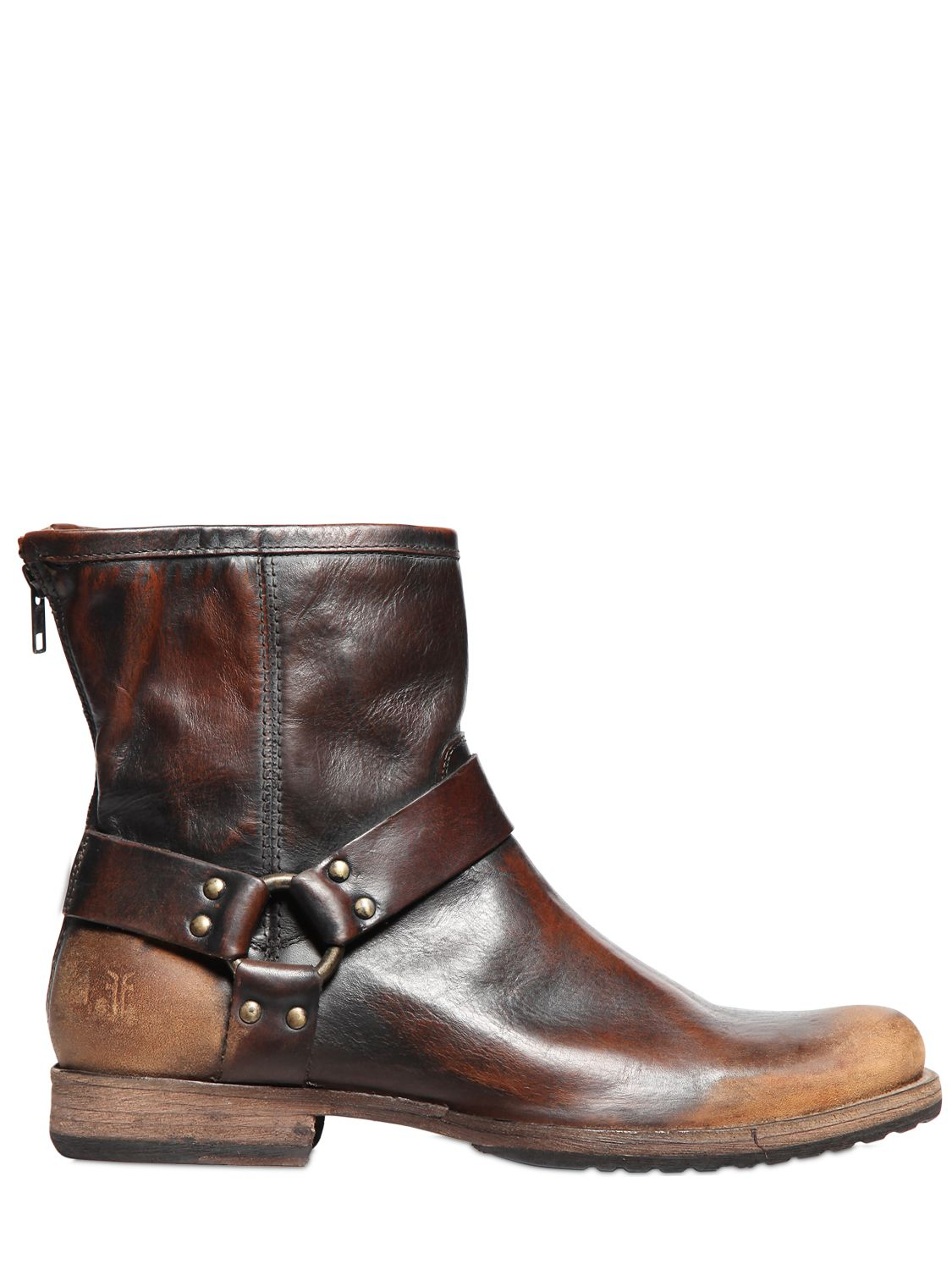 Lyst Frye Phillip Harness Sanded Leather Boots In Brown