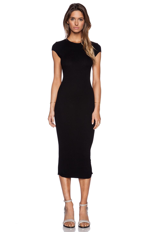 Enza costa Rib Cap Sleeve Dress in Black | Lyst