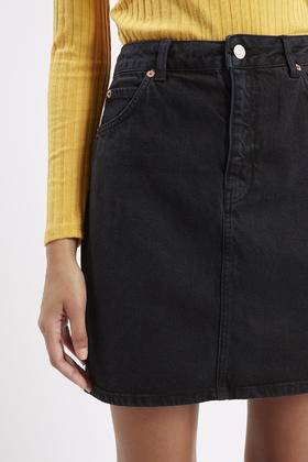 Topshop Moto High-waisted Denim Skirt in Black | Lyst