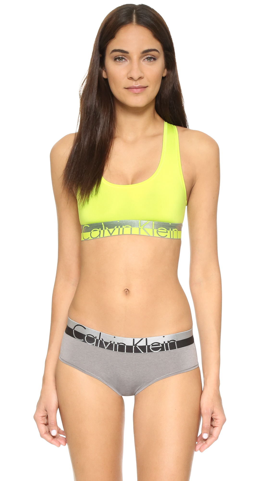 bcab6a17aad Lyst - Calvin Klein Magnetic Force Racer Back Bralette in Yellow
