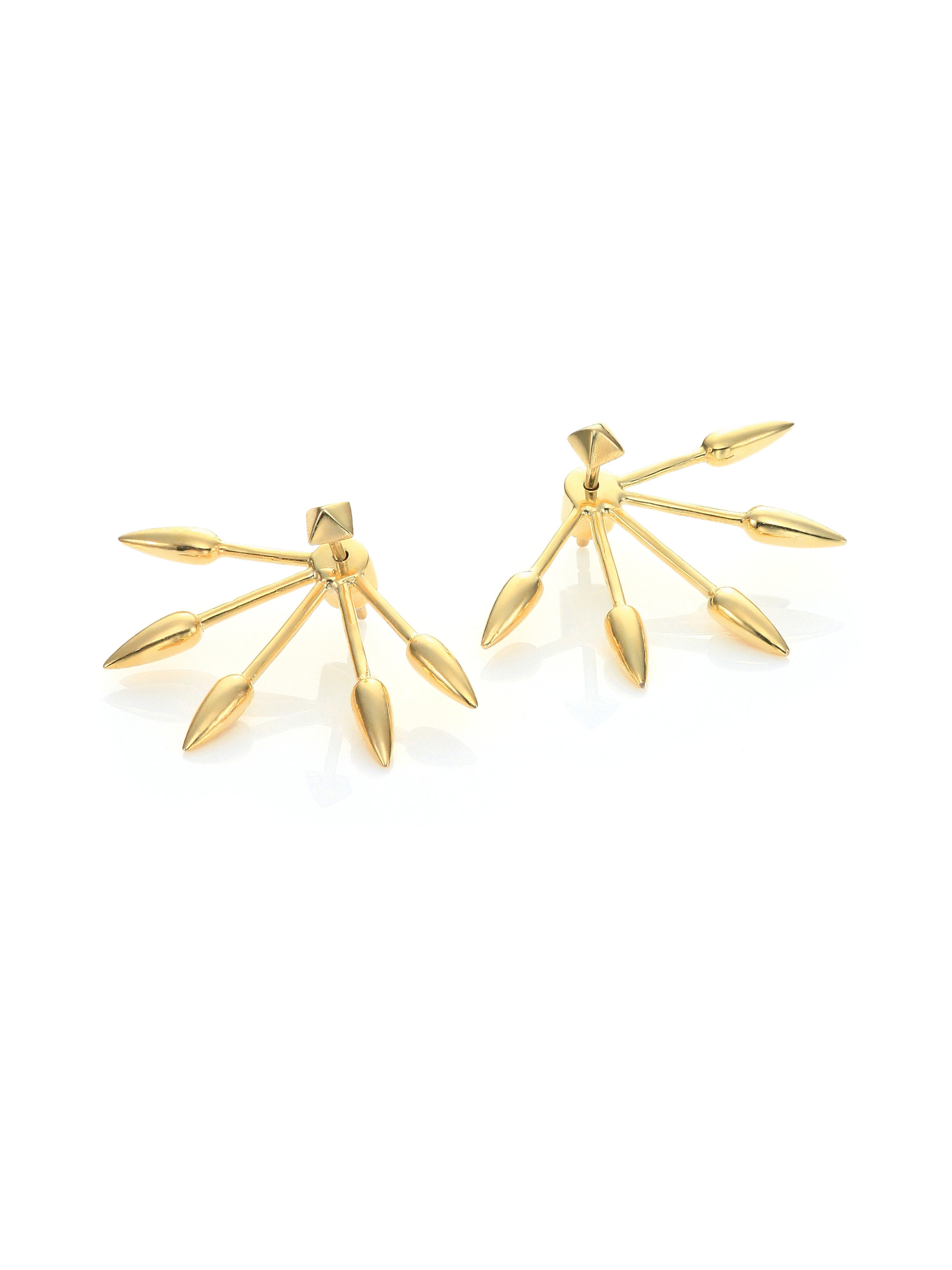 five spike ear jacket stud earrings set in
