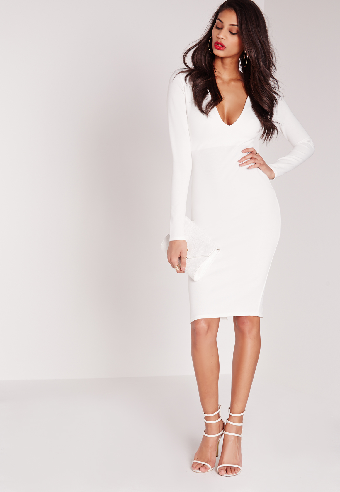 2f717483f491 Lyst - Missguided Ponte Long Sleeve Plunge Midi Dress White in White