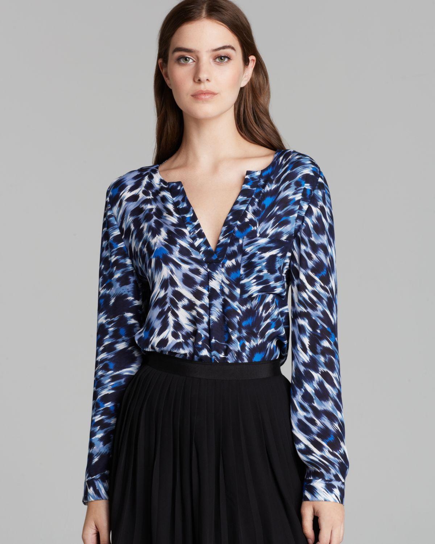 998666038d7c50 Joie Blouse Deon Animal Print Silk in Blue - Lyst