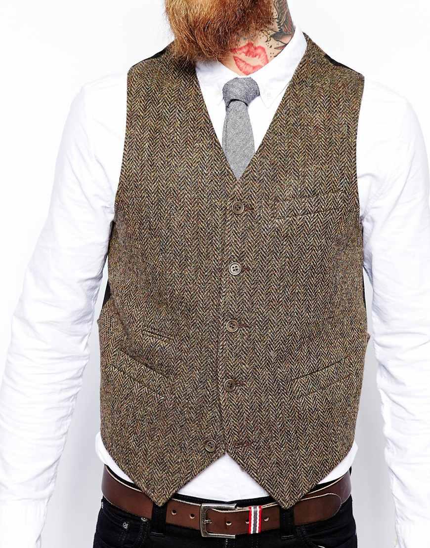 Lyst Asos Slim Fit Waistcoat In Harris Tweed In Brown