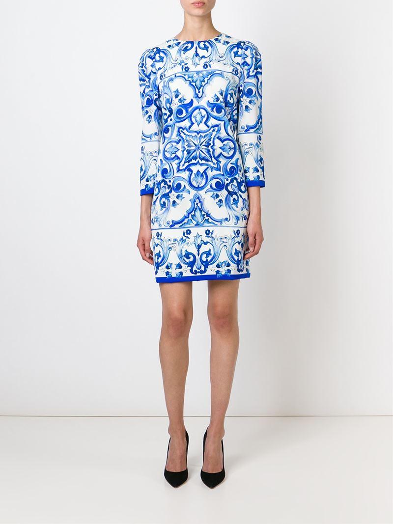 56a31762759 Dolce   Gabbana Majolica Tile-Print Dress in Blue - Lyst