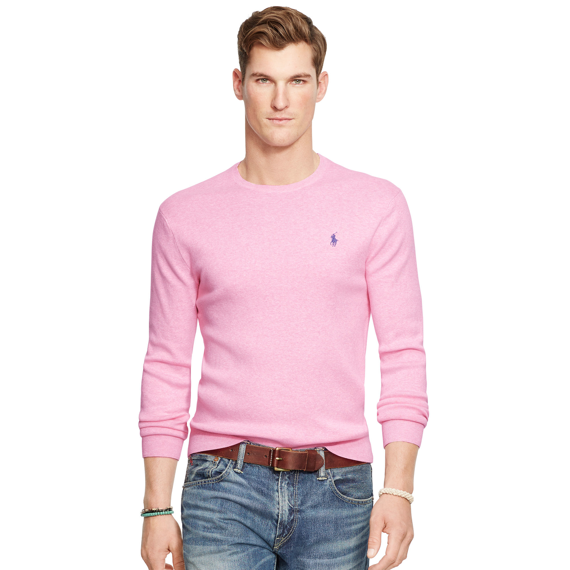 Mens Pink Polo Sweaters
