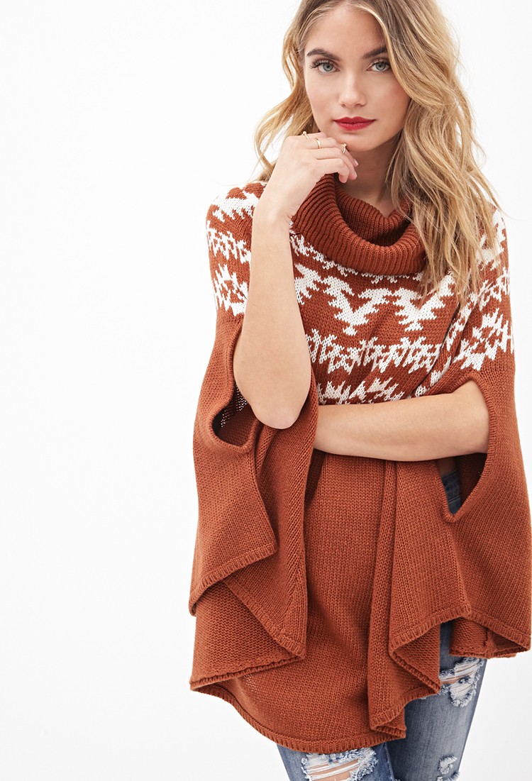 Forever 21 Contemporary Cowl Neck Poncho Sweater in Brown | Lyst