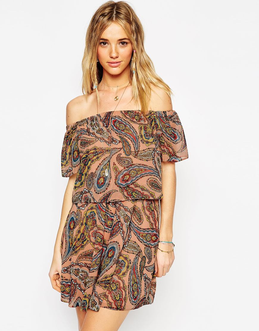 26b101b9e4a ... Lyst - Asos Off Shoulder Dress In Paisley Print in Brown newest  collection 9f2b8 8df66