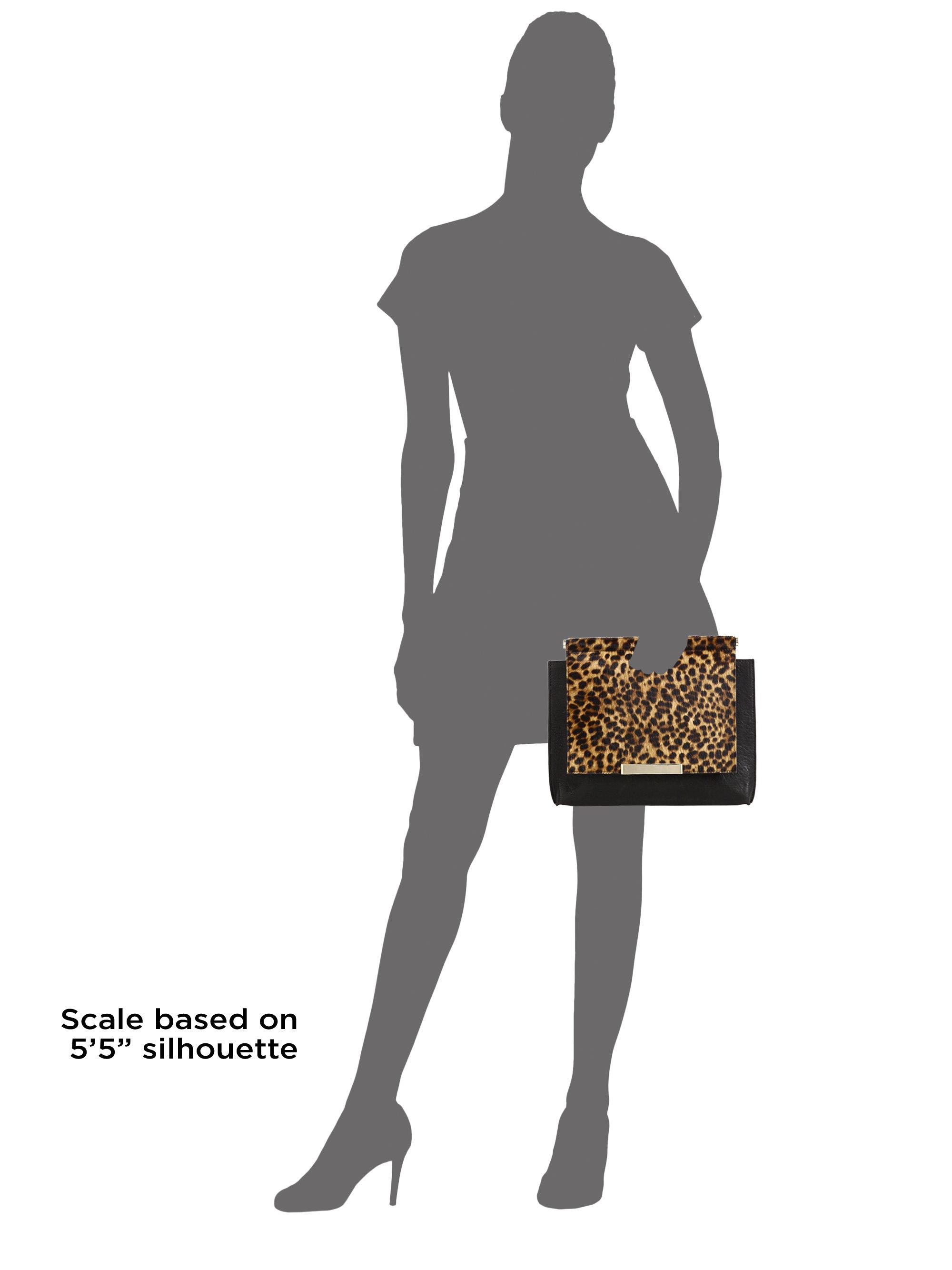 47eb1c9bd1ab Lyst - Alice + Olivia Oversized Leopard-print Calf Hair & Leather Clutch