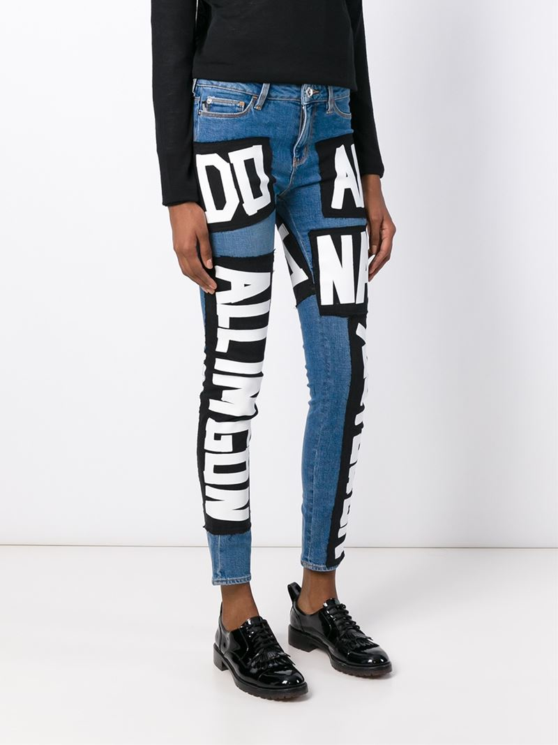 Love moschino Patch Skinny Jeans in Blue | Lyst