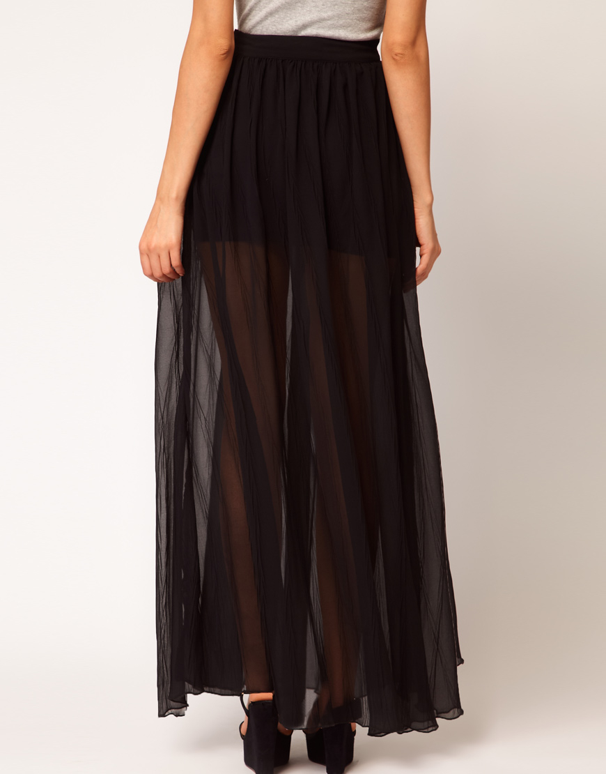 asos maxi skirts with pleats in gray lyst