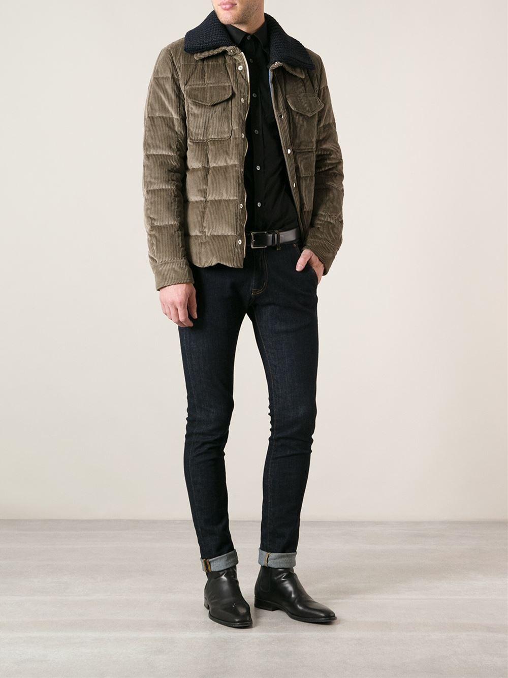 lyst dolce gabbana padded corduroy jacket in brown for men. Black Bedroom Furniture Sets. Home Design Ideas