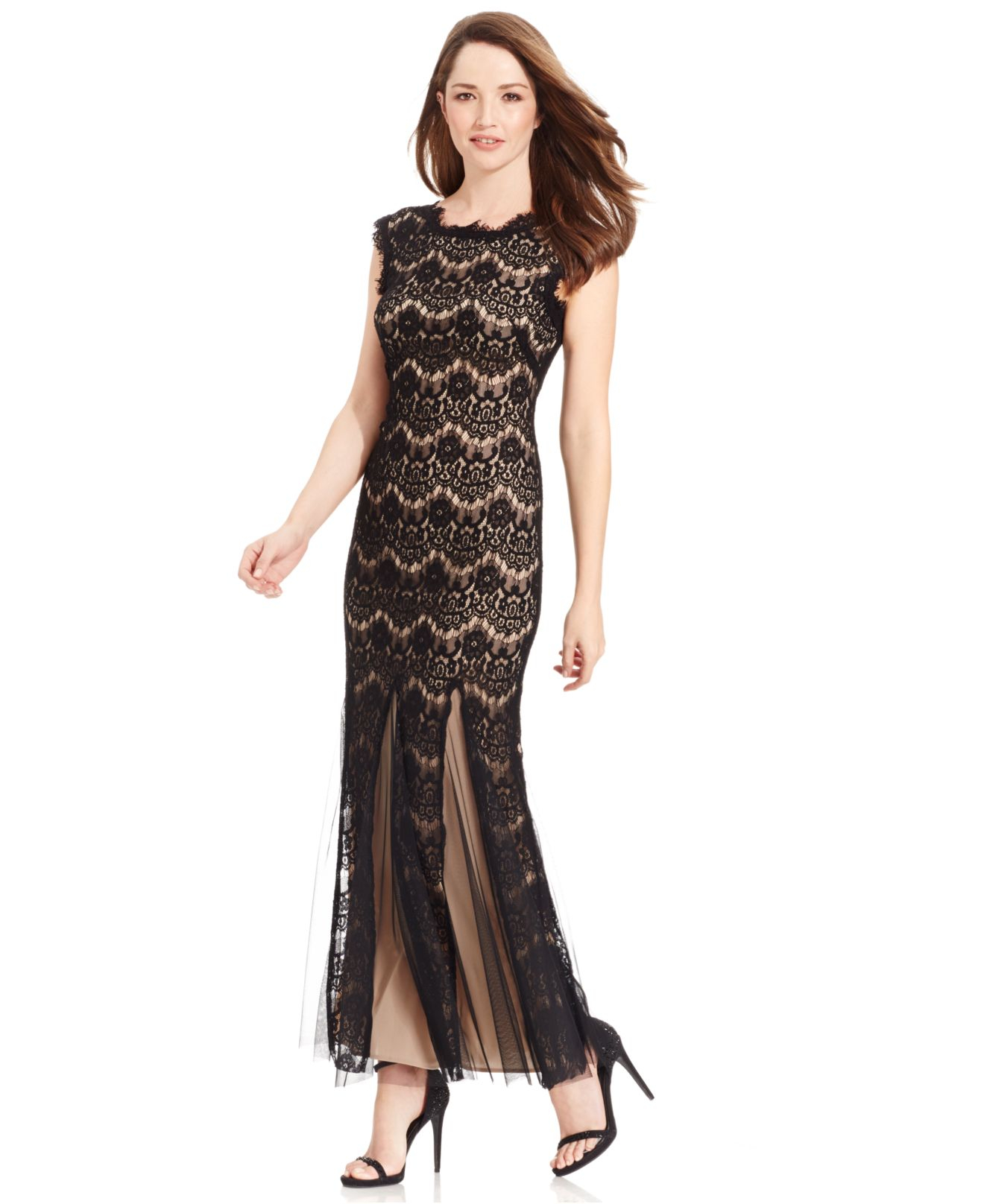 b687b80b9041 Lyst - Betsy   Adam Petite Cap-sleeve Lace Gown in Black