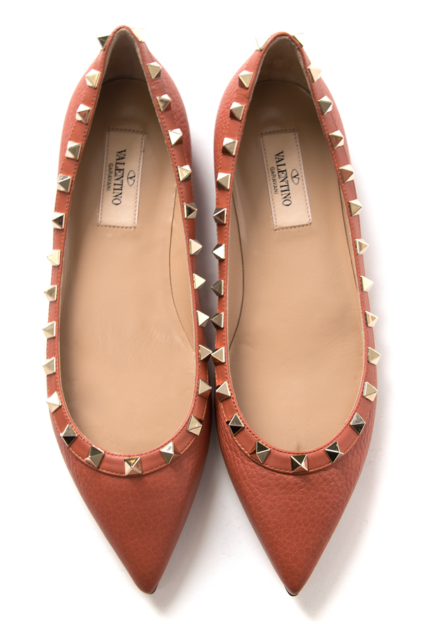 valentino rockstud ballet flat in pink lyst. Black Bedroom Furniture Sets. Home Design Ideas