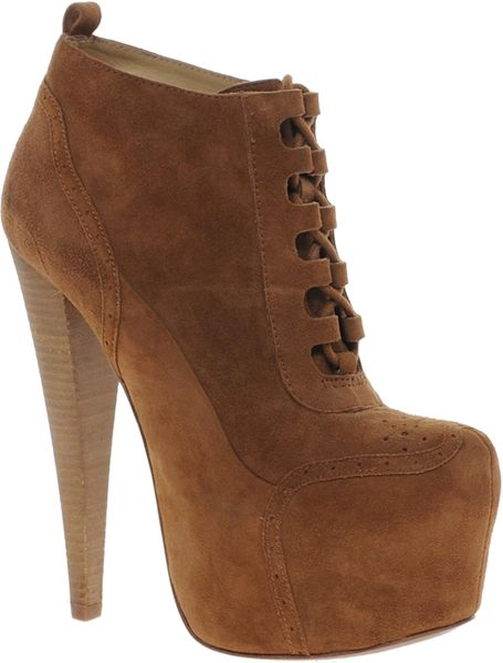 aldo rosann heeled lace up boot in brown cognac28 lyst