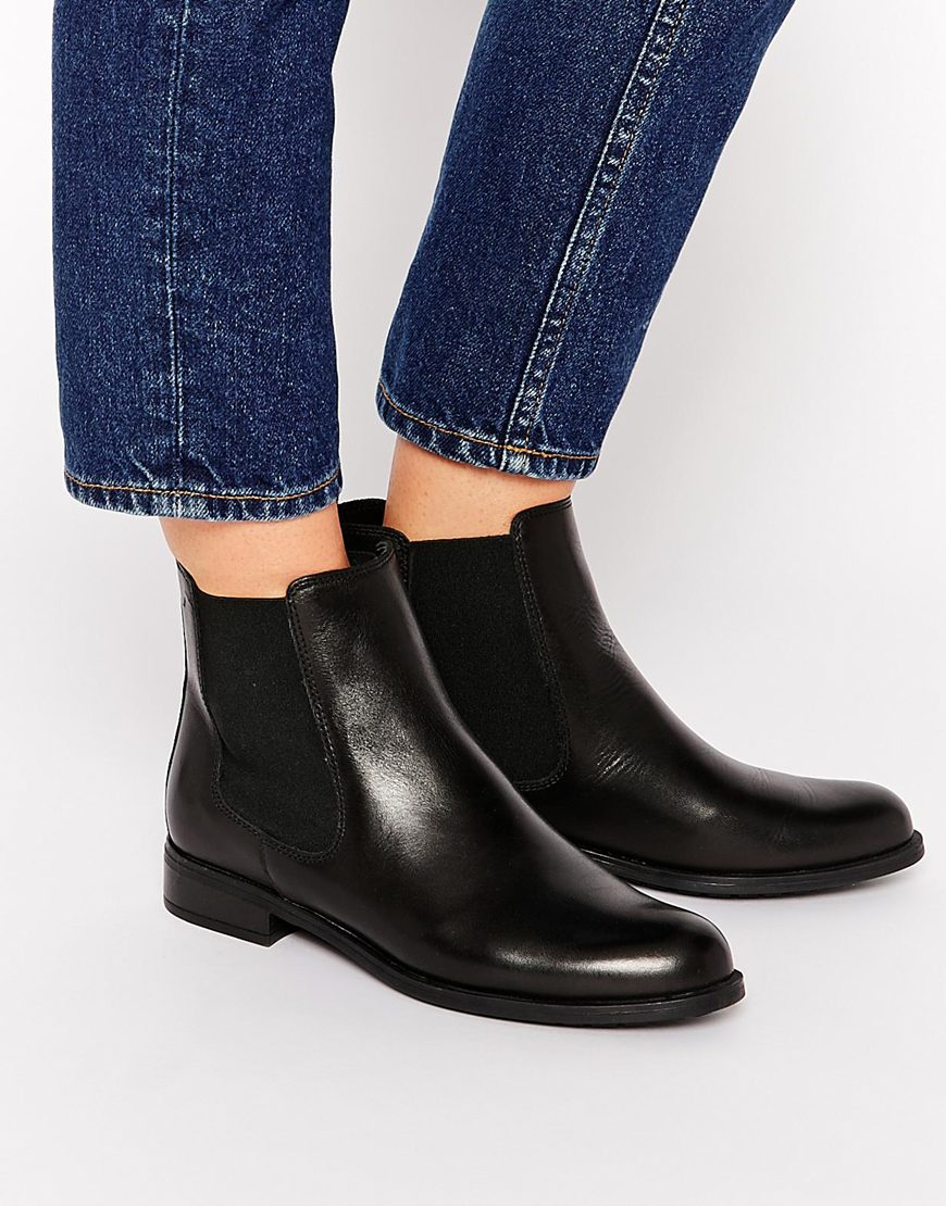 Lyst Dune Parry Black Leather Chelsea Flat Ankle Boots