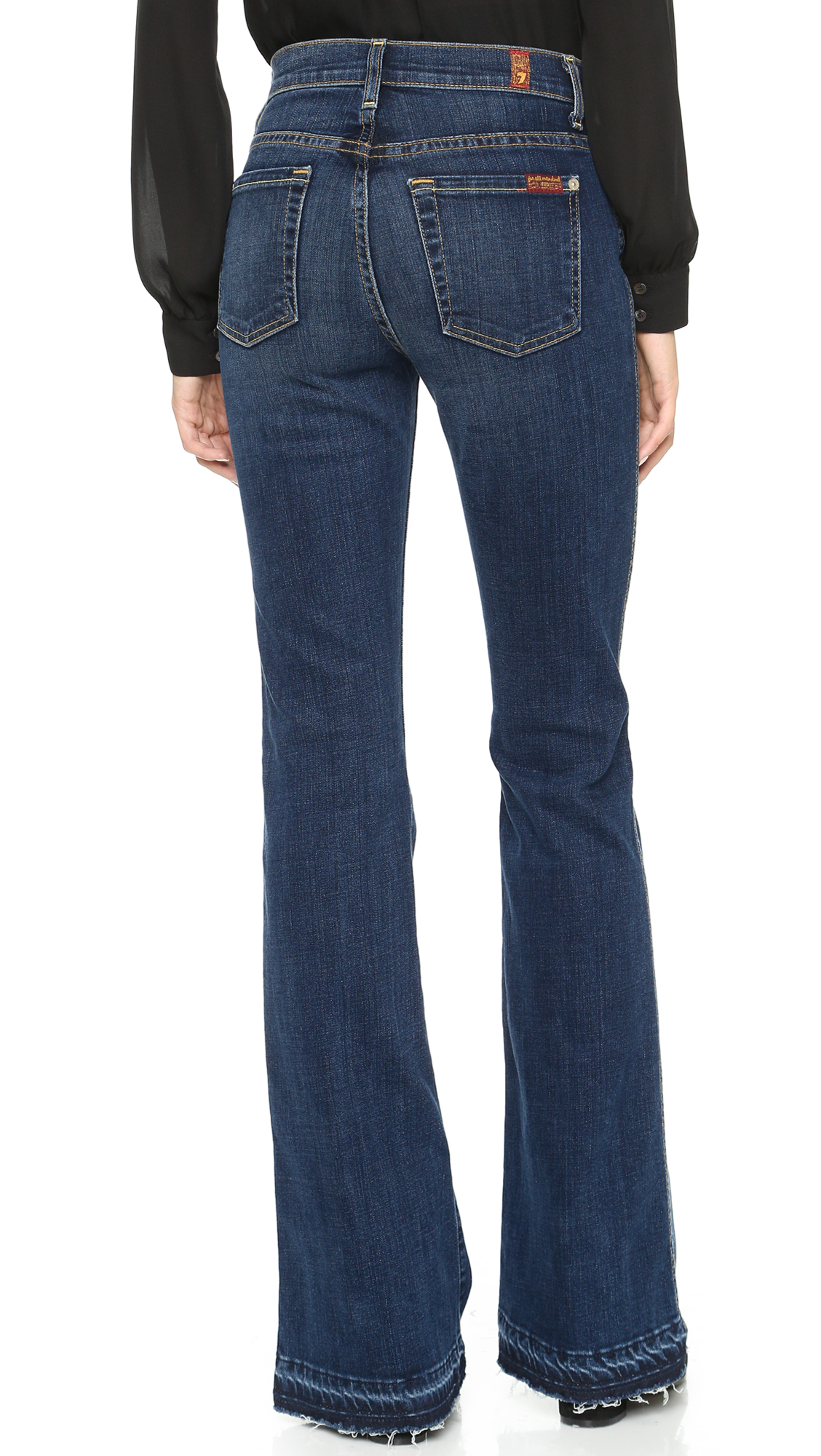lyst 7 for all mankind high waisted boot cut jeans in blue. Black Bedroom Furniture Sets. Home Design Ideas