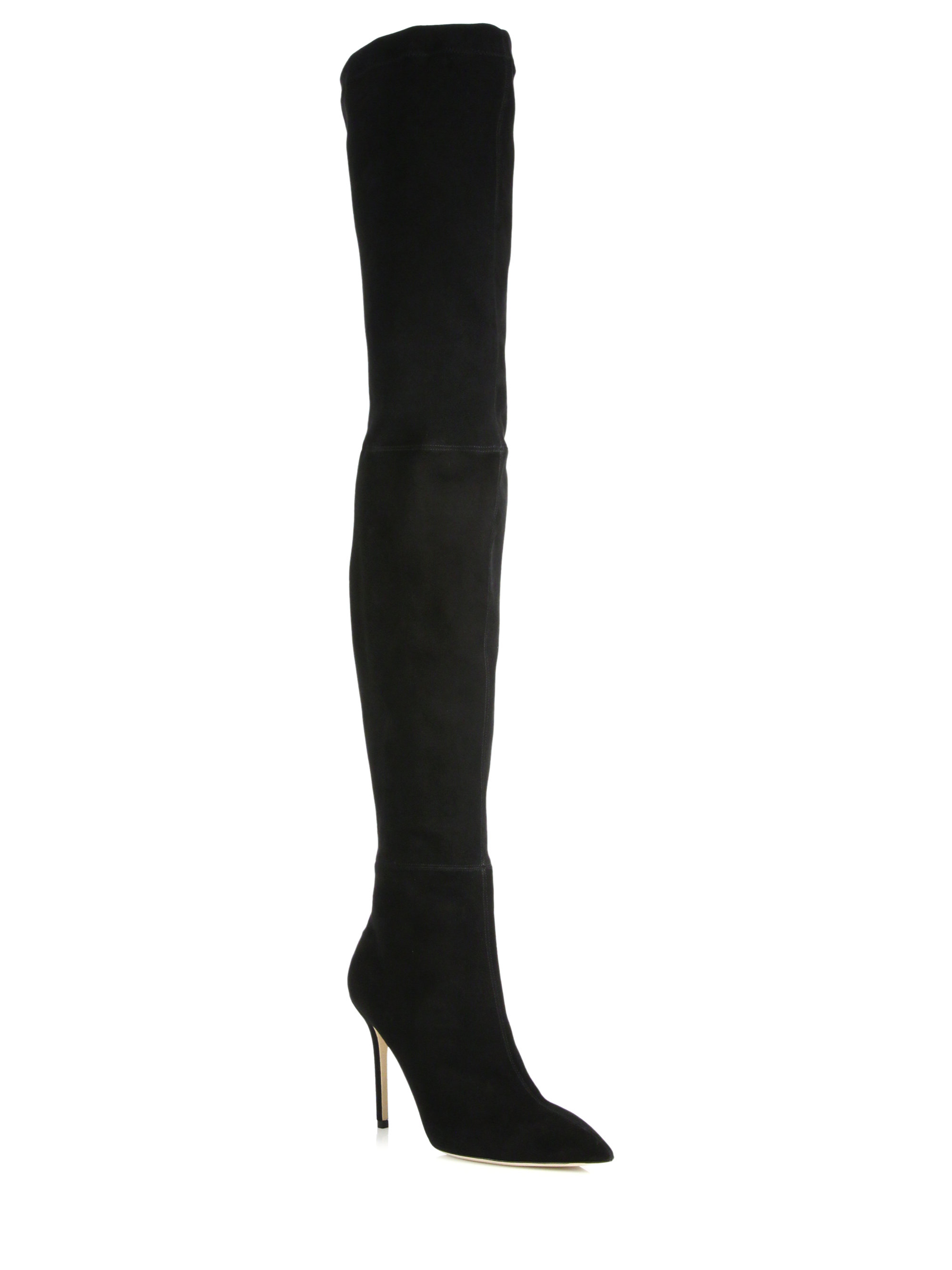 brian atwood odille suede thigh high boots in black lyst