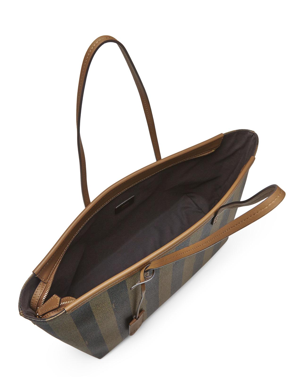 Lyst - Fendi Pequin Roll Tote in Brown 2b13b62fef