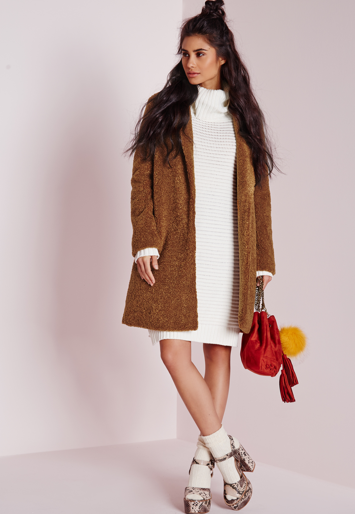Missguided Teddy Curly Wool Coat Chocolate Brown In Brown