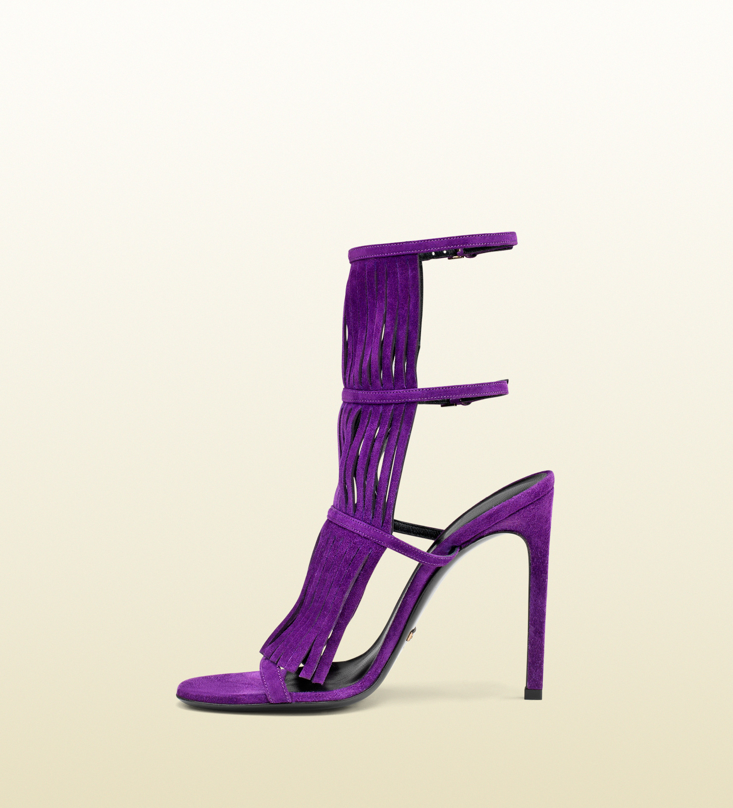 Gucci Becky Suede Fringed High Heel Sandal in Purple | Lyst