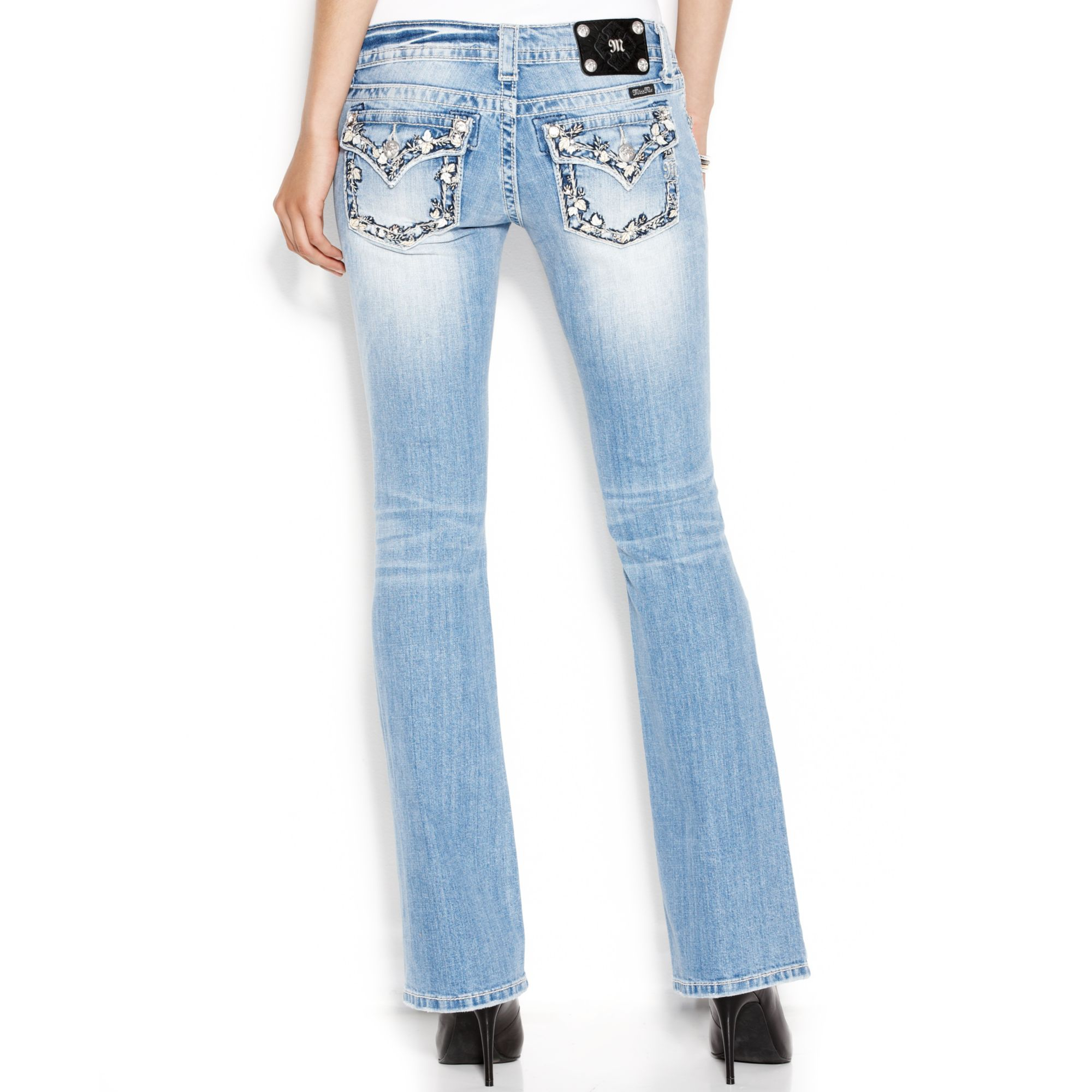 Lyst miss me rhinestone embroidered bootcut jeans in blue