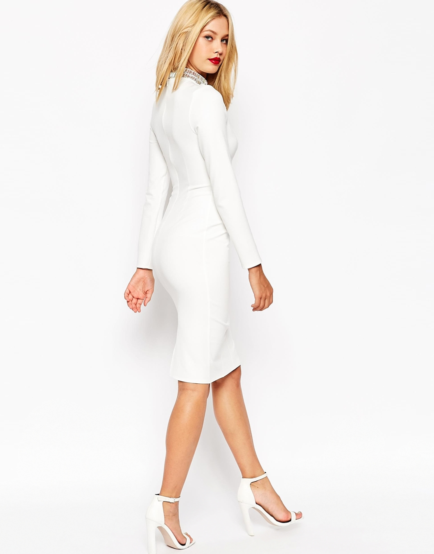 a60c2146ac380 ASOS Long Sleeve Embellished Collar Midi Dress in White - Lyst