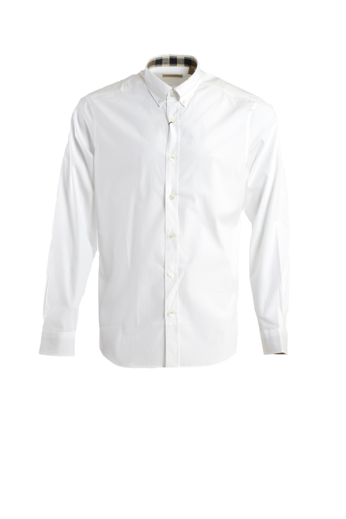 Burberry stretch cotton button down shirt in white for men for Womens stretch button down shirt