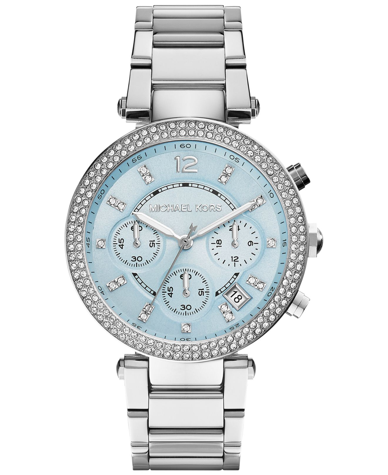 Lyst - Michael Kors Women S Chronograph Parker Stainless Steel ... bc2b746a87
