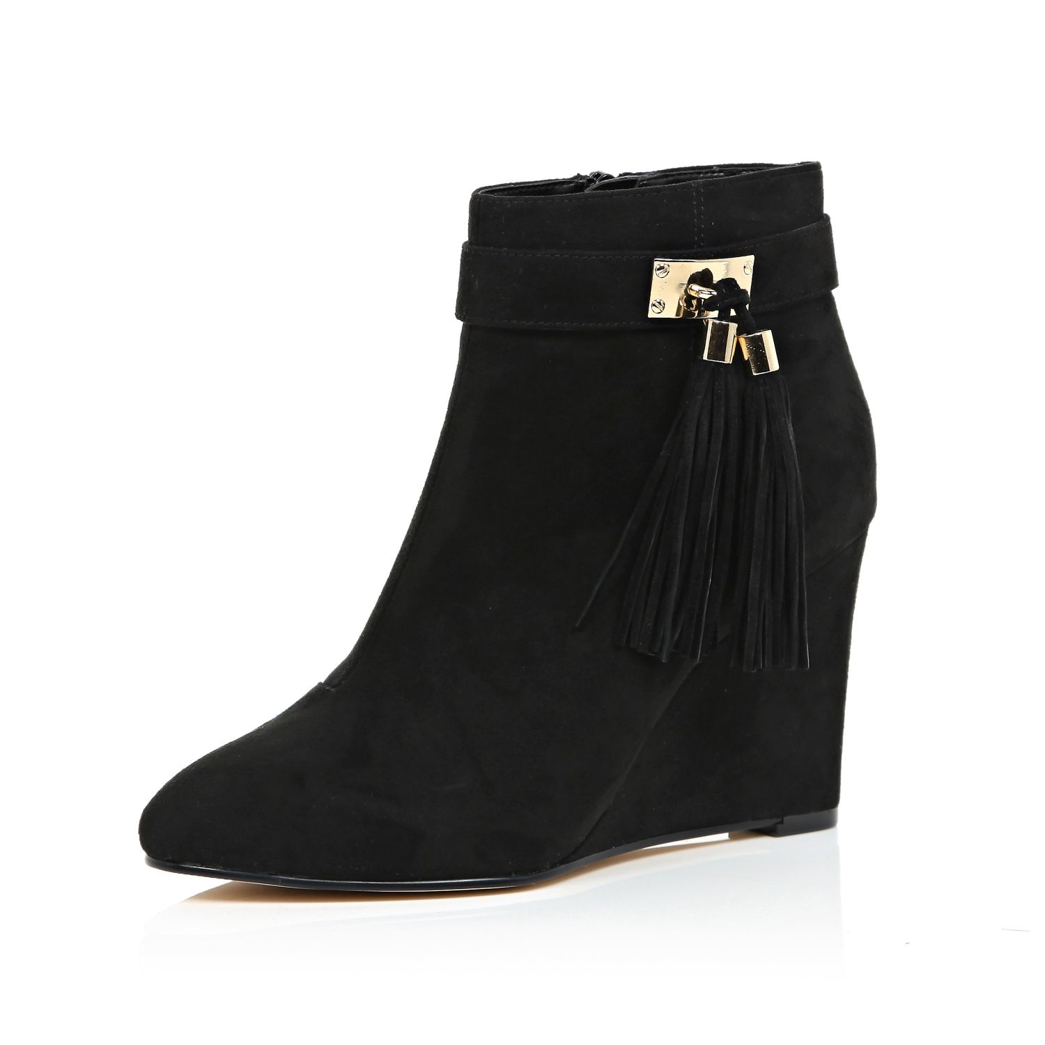 river island black tassel trim wedge ankle boots in black