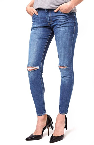 9c0e002fe6e TOPSHOP Moto 'leigh' Ripped Skinny Jeans in Blue - Lyst